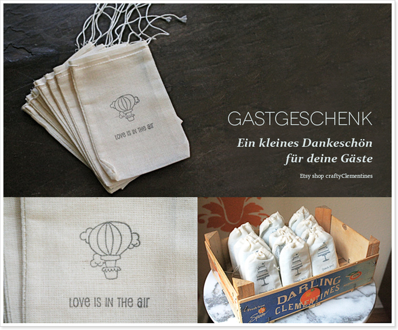 Gastgeschenk Heissluftballon Love is in the air Etsy Shop muslin bag